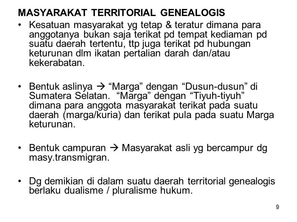 9 MASYARAKAT TERRITORIAL GENEALOGIS Kesatuan masyarakat yg tetap & teratur dimana para anggotanya bukan saja terikat pd tempat kediaman pd suatu daera