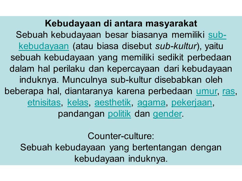 Kebudayaan di antara masyarakat Sebuah kebudayaan besar biasanya memiliki sub- kebudayaan (atau biasa disebut sub-kultur), yaitu sebuah kebudayaan yan