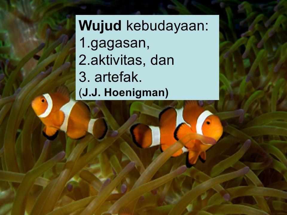 Wujud kebudayaan: 1.gagasan, 2.aktivitas, dan 3. artefak. (J.J. Hoenigman)