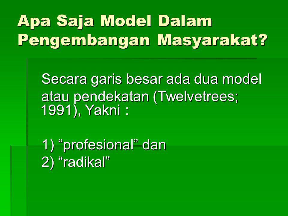 Apa Saja Model Dalam Pengembangan Masyarakat? Secara garis besar ada dua model Secara garis besar ada dua model atau pendekatan (Twelvetrees; 1991), Y