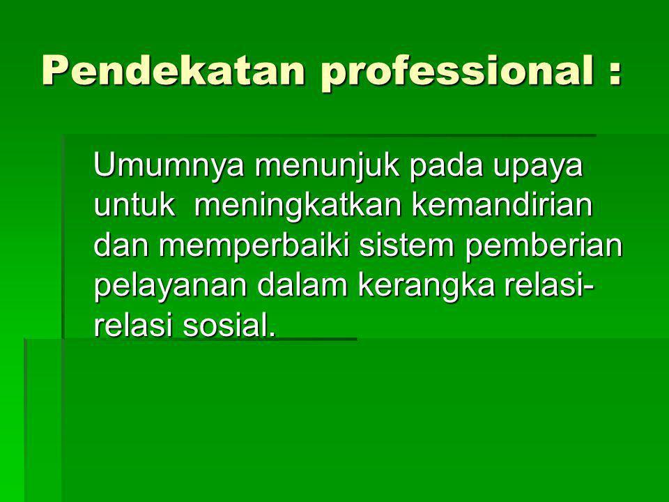 Pendekatan professional : Umumnya menunjuk pada upaya untuk meningkatkan kemandirian dan memperbaiki sistem pemberian pelayanan dalam kerangka relasi-