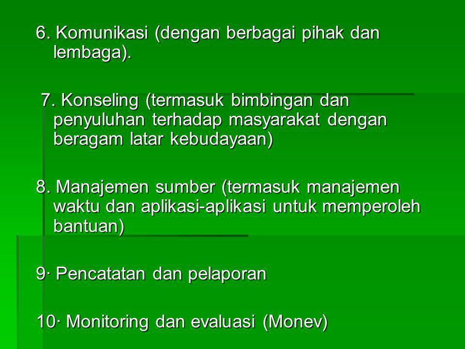 6. Komunikasi (dengan berbagai pihak dan lembaga). 7. Konseling (termasuk bimbingan dan penyuluhan terhadap masyarakat dengan beragam latar kebudayaan