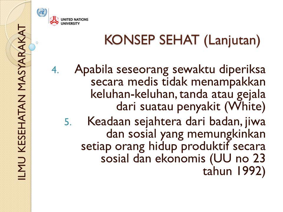 KONSEP SEHAT (Lanjutan) 4.