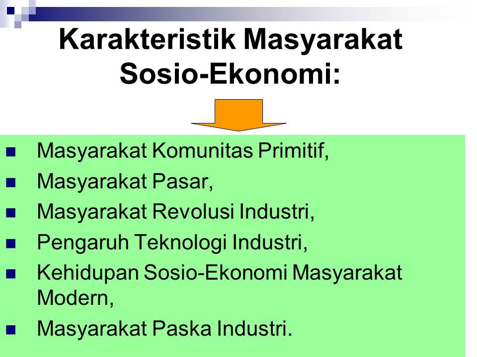 Karakteristik Masyarakat Sosio-Ekonomi: Masyarakat Komunitas Primitif, Masyarakat Pasar, Masyarakat Revolusi Industri, Pengaruh Teknologi Industri, Ke