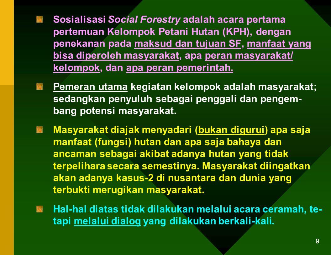 8 Adanya partisipasi sosial menjadi indikator yang sangat penting untuk keberhasilan penyuluhan partisipatif. Partisipasi sosial diartikan sebagai ket