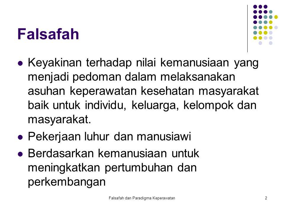 Falsafah dan Paradigma Keperawatan3 Falsafah Harus terjangkau dan dapat diterima semua orang.