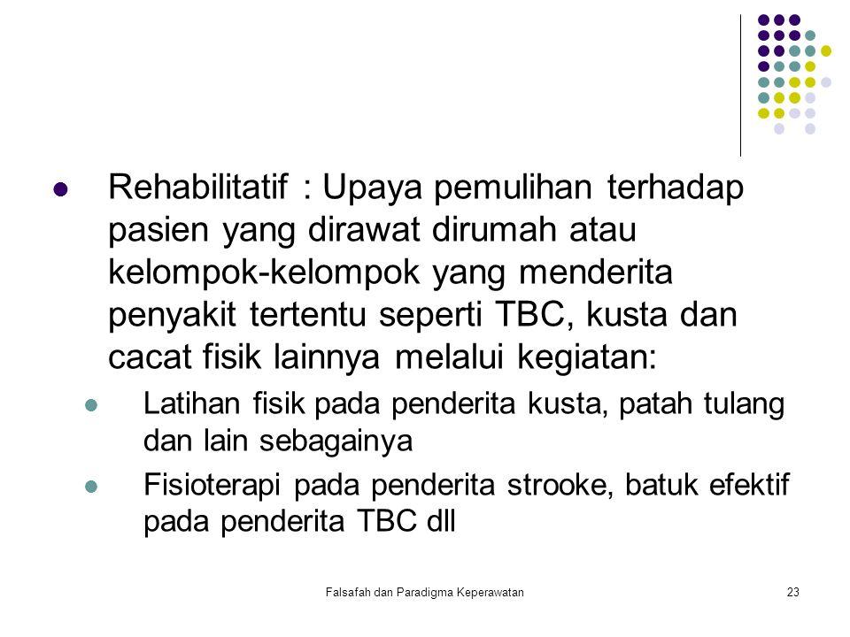 Falsafah dan Paradigma Keperawatan24 Resosialitatif ; Adalah upaya untuk mengembalikan penderita ke masyarakat yang karena penyakitnya dikucilkan oleh masyarakat seperti, penderita AIDS, kusta dan wanita tuna susila.