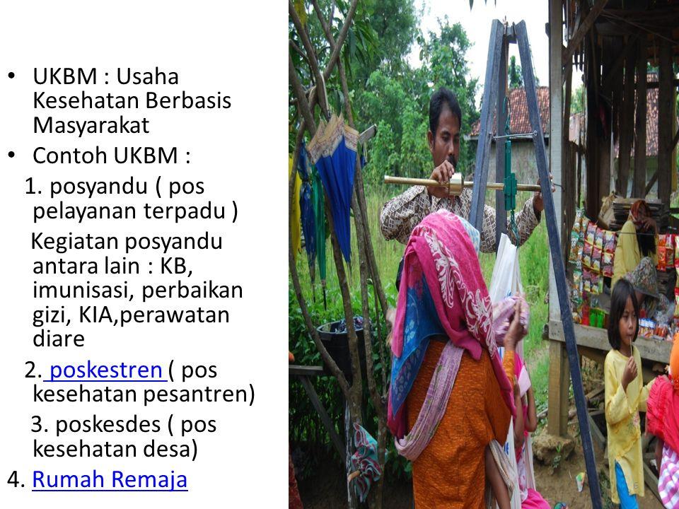 UKBM : Usaha Kesehatan Berbasis Masyarakat Contoh UKBM : 1. posyandu ( pos pelayanan terpadu ) Kegiatan posyandu antara lain : KB, imunisasi, perbaika