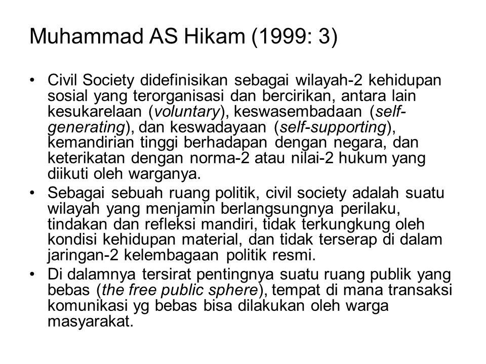 Muhammad AS Hikam (1999: 3) Civil Society didefinisikan sebagai wilayah-2 kehidupan sosial yang terorganisasi dan bercirikan, antara lain kesukarelaan
