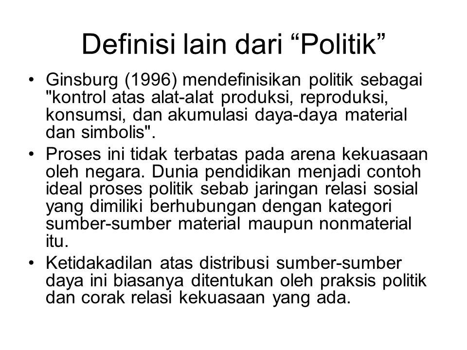"""Definisi lain dari """"Politik"""" Ginsburg (1996) mendefinisikan politik sebagai"""