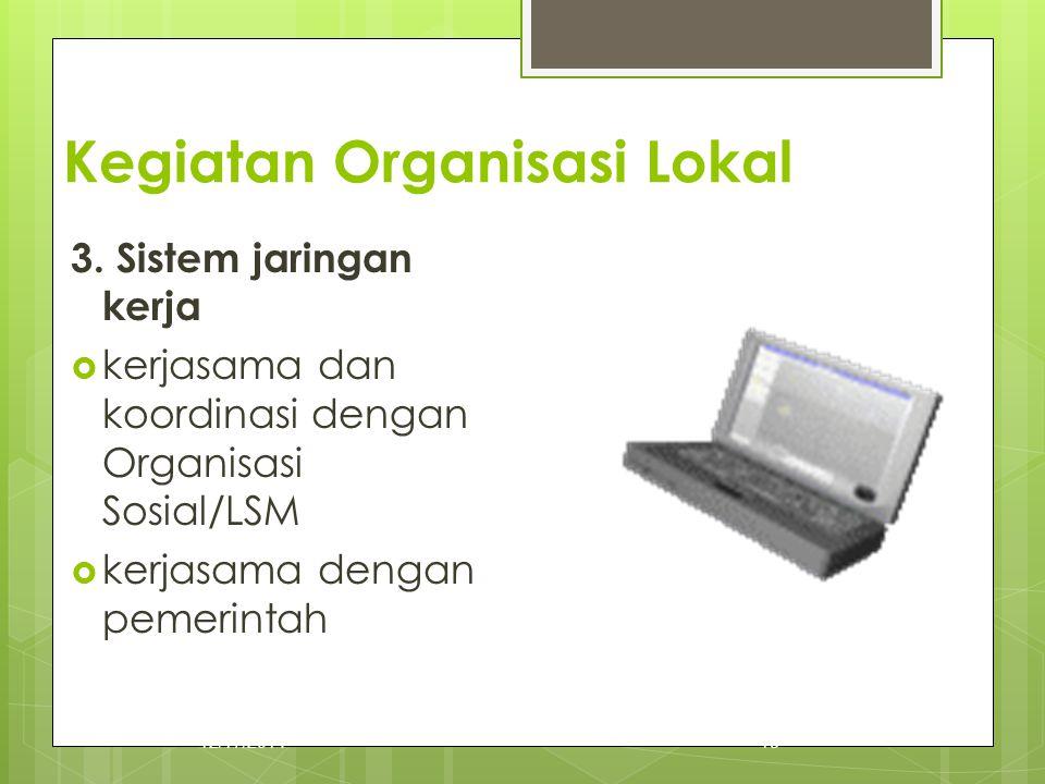 Kegiatan Organisasi Lokal 3. Sistem jaringan kerja  kerjasama dan koordinasi dengan Organisasi Sosial/LSM  kerjasama dengan pemerintah 12/17/201418