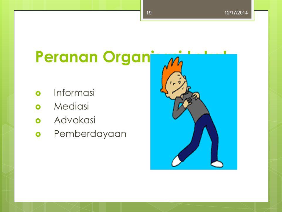 Peranan Organisasi Lokal  Informasi  Mediasi  Advokasi  Pemberdayaan 12/17/201419