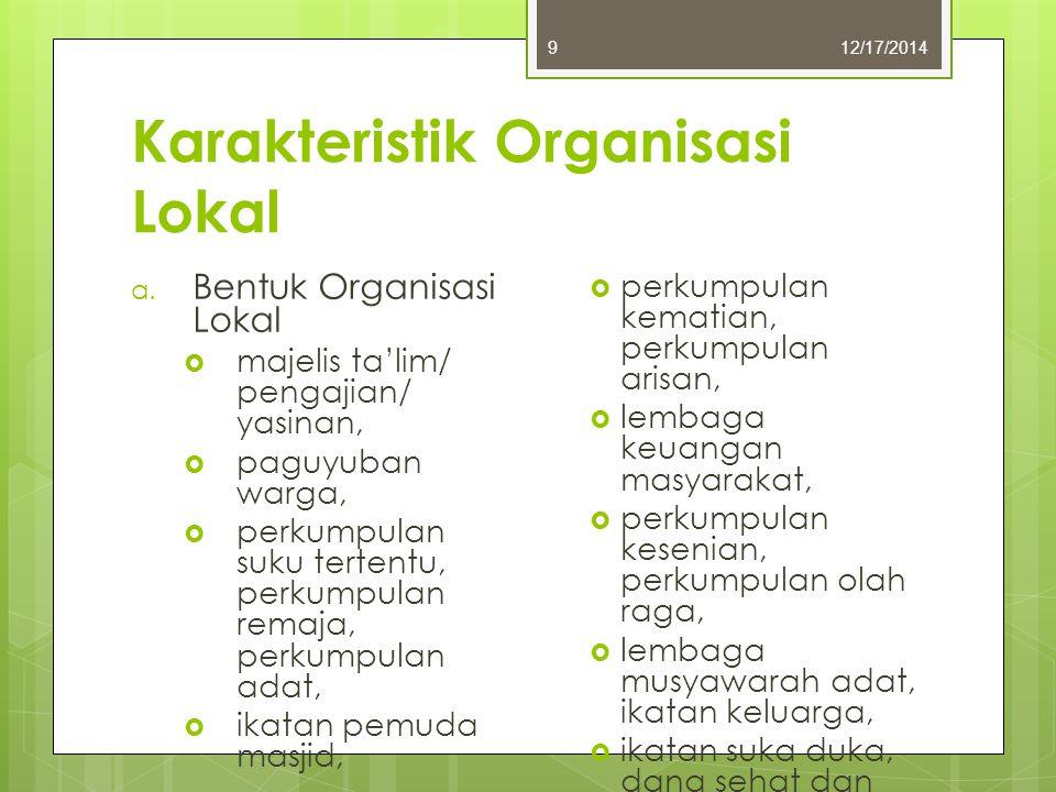 Karakteristik Organisasi Lokal 12/17/20149 a. Bentuk Organisasi Lokal  majelis ta'lim/ pengajian/ yasinan,  paguyuban warga,  perkumpulan suku tert