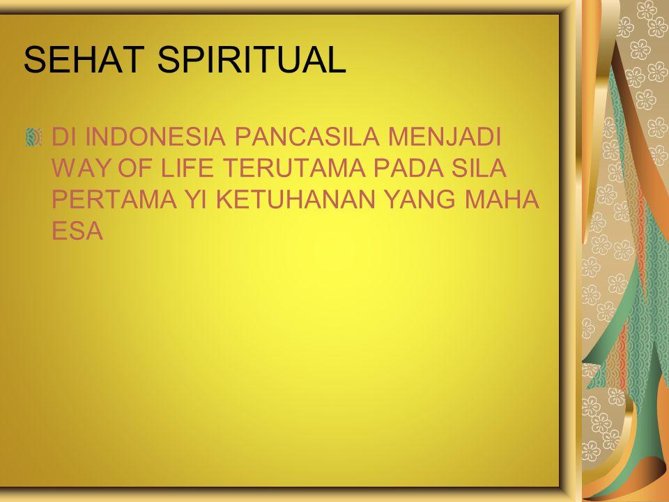 SEHAT SPIRITUAL DI INDONESIA PANCASILA MENJADI WAY OF LIFE TERUTAMA PADA SILA PERTAMA YI KETUHANAN YANG MAHA ESA