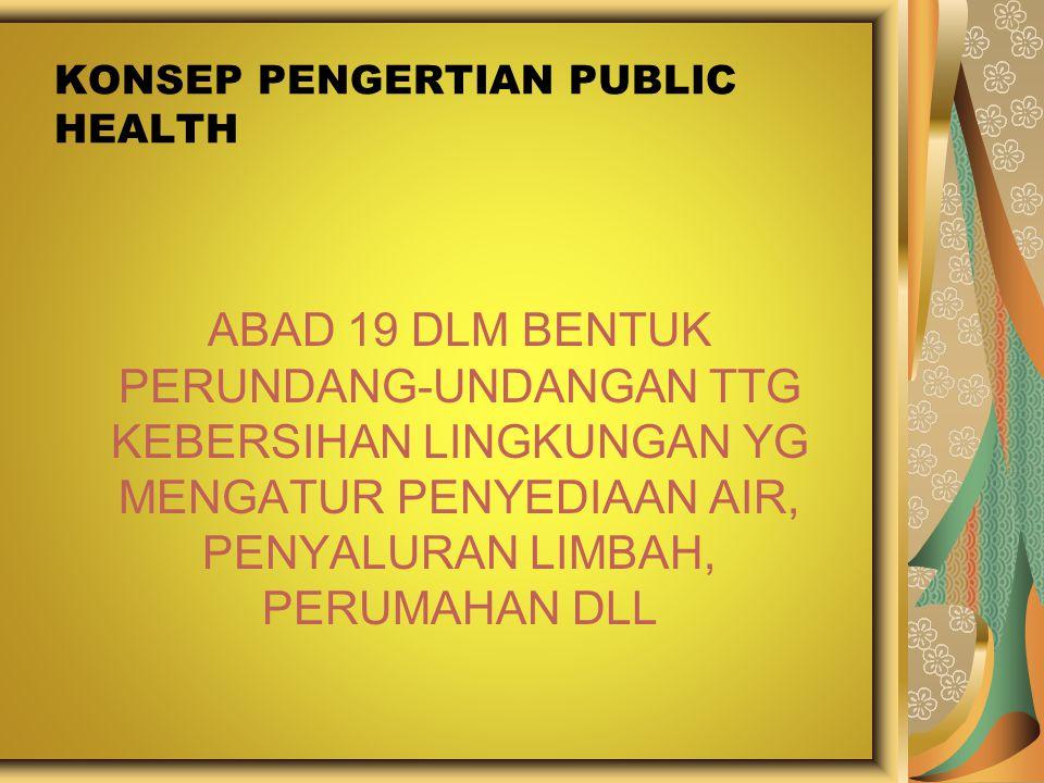 KONSEP PENGERTIAN PUBLIC HEALTH ABAD 19 DLM BENTUK PERUNDANG-UNDANGAN TTG KEBERSIHAN LINGKUNGAN YG MENGATUR PENYEDIAAN AIR, PENYALURAN LIMBAH, PERUMAH