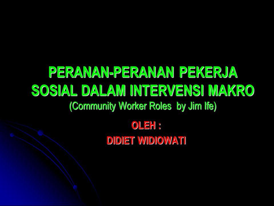 PERANAN-PERANAN PEKERJA SOSIAL DALAM INTERVENSI MAKRO (Community Worker Roles by Jim Ife) OLEH : DIDIET WIDIOWATI