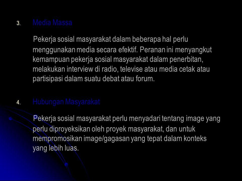 3. 3. Media Massa Pekerja sosial masyarakat dalam beberapa hal perlu menggunakan media secara efektif. Peranan ini menyangkut kemampuan pekerja sosial