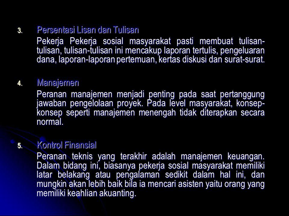 3. Persentasi Lisan dan Tulisan Pekerja Pekerja sosial masyarakat pasti membuat tulisan- tulisan, tulisan-tulisan ini mencakup laporan tertulis, penge