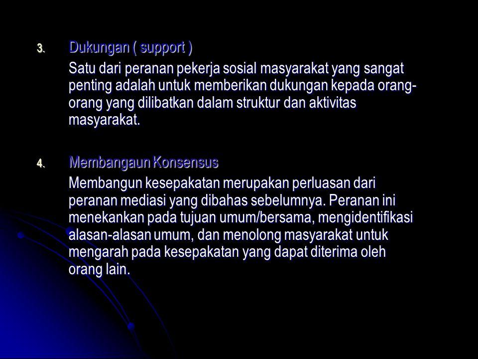 3. Dukungan ( support ) Satu dari peranan pekerja sosial masyarakat yang sangat penting adalah untuk memberikan dukungan kepada orang- orang yang dili