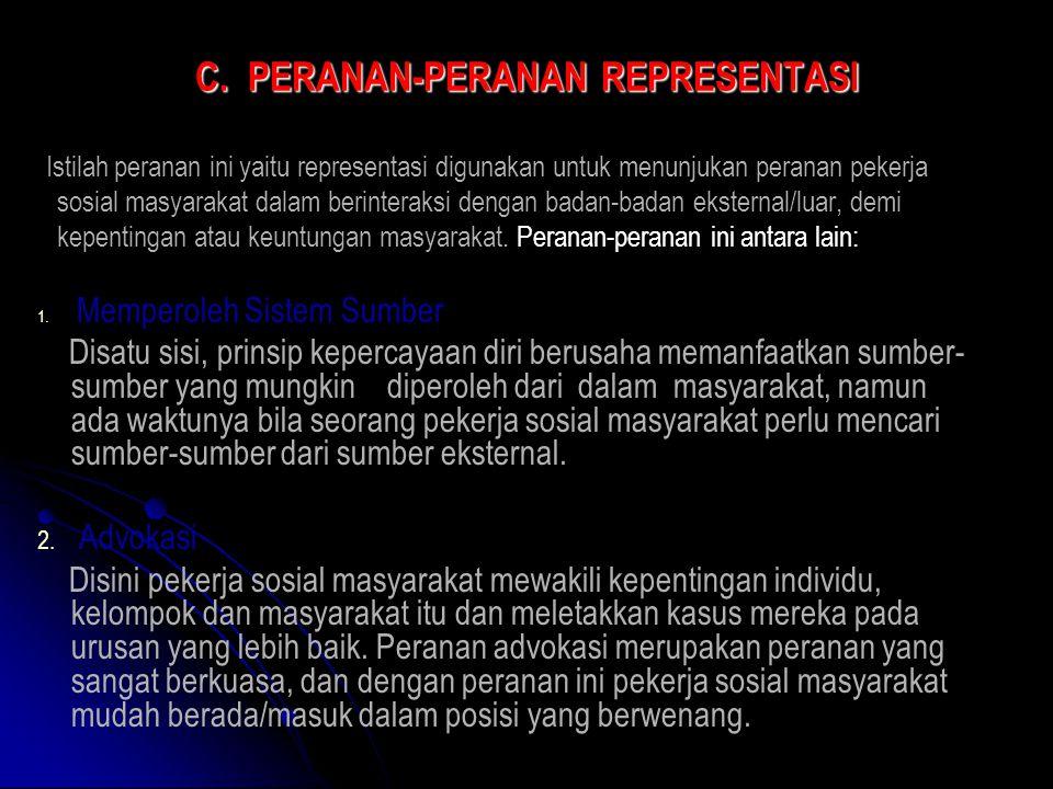 C. PERANAN-PERANAN REPRESENTASI Istilah peranan ini yaitu representasi digunakan untuk menunjukan peranan pekerja sosial masyarakat dalam berinteraksi