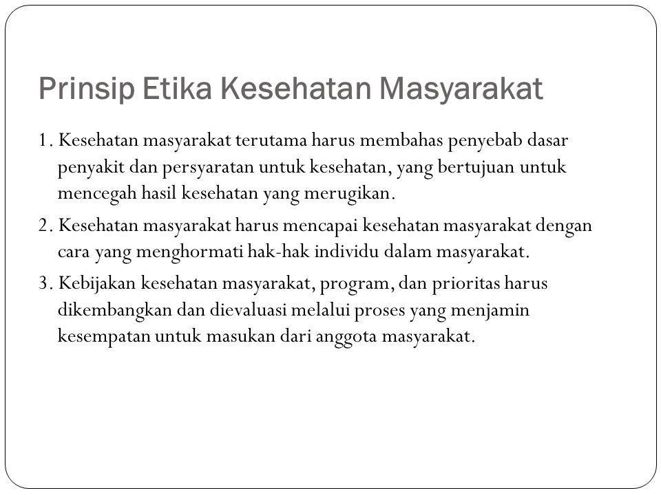 Prinsip Etika Kesehatan Masyarakat 1.
