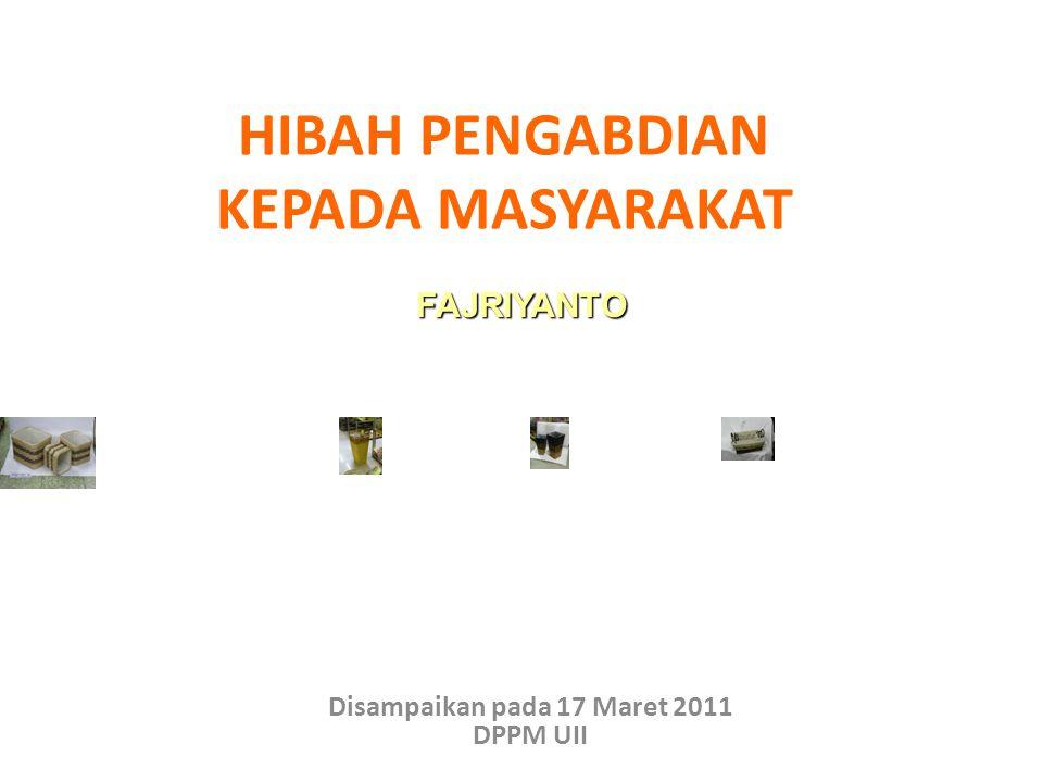 PERUBAHAN PARADIGMA PENGABDIAN MASYARAKAT MODEL LAMA MODEL BARU (2009) ORIENTASI SOSIAL LEBIH DOMINAN ORIENTASI KEMANDIRIAN EKONOMI DAN KEWIRAUSAHAAN : KNOWLEDGE BASED ECONOMY BERSIFAT PROBLEM SOLVING, KOMPREHENSIF, BERMAKNA, TUNTAS, DAN BERKELANJUTAN (SUSTAINABLE) DENGAN SASARAN YANG TIDAK INDIVIDUAL - MENDORONG DIVERSIFIKASI USAHA PT DANA KECIL 7 JT – 200 JT RELATIF BESAR 50 – 300 JT BANYAK PROGRAM ( 15 PGR), KURANG FOKUS LEBIH SEDIKIT NAMUN FOKUS