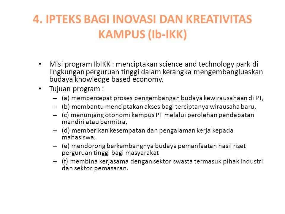4. IPTEKS BAGI INOVASI DAN KREATIVITAS KAMPUS (Ib-IKK) Misi program IbIKK : menciptakan science and technology park di lingkungan perguruan tinggi dal