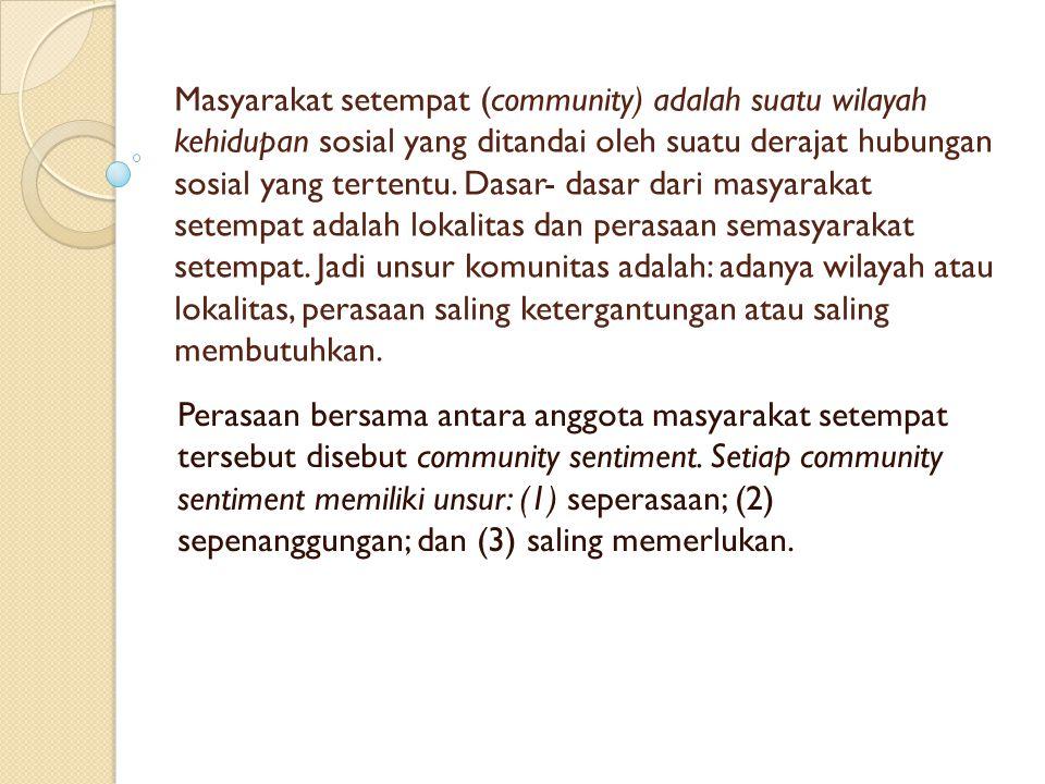 Masyarakat setempat (community) adalah suatu wilayah kehidupan sosial yang ditandai oleh suatu derajat hubungan sosial yang tertentu. Dasar- dasar dar
