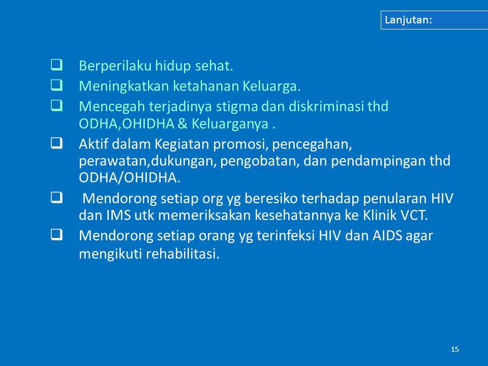 15  Berperilaku hidup sehat.  Meningkatkan ketahanan Keluarga.  Mencegah terjadinya stigma dan diskriminasi thd ODHA,OHIDHA & Keluarganya.  Aktif
