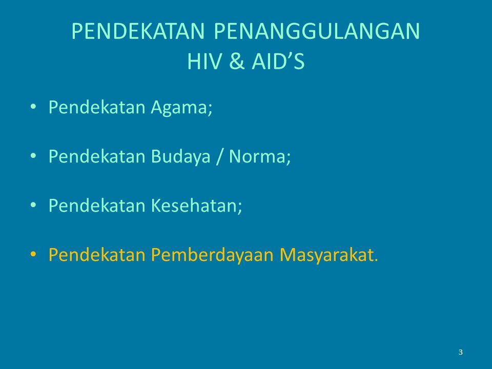 3 PENDEKATAN PENANGGULANGAN HIV & AID'S Pendekatan Agama; Pendekatan Budaya / Norma; Pendekatan Kesehatan; Pendekatan Pemberdayaan Masyarakat.