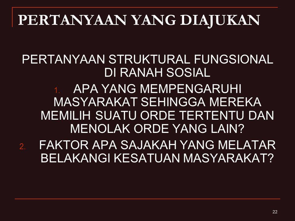 22 PERTANYAAN YANG DIAJUKAN PERTANYAAN STRUKTURAL FUNGSIONAL DI RANAH SOSIAL 1.