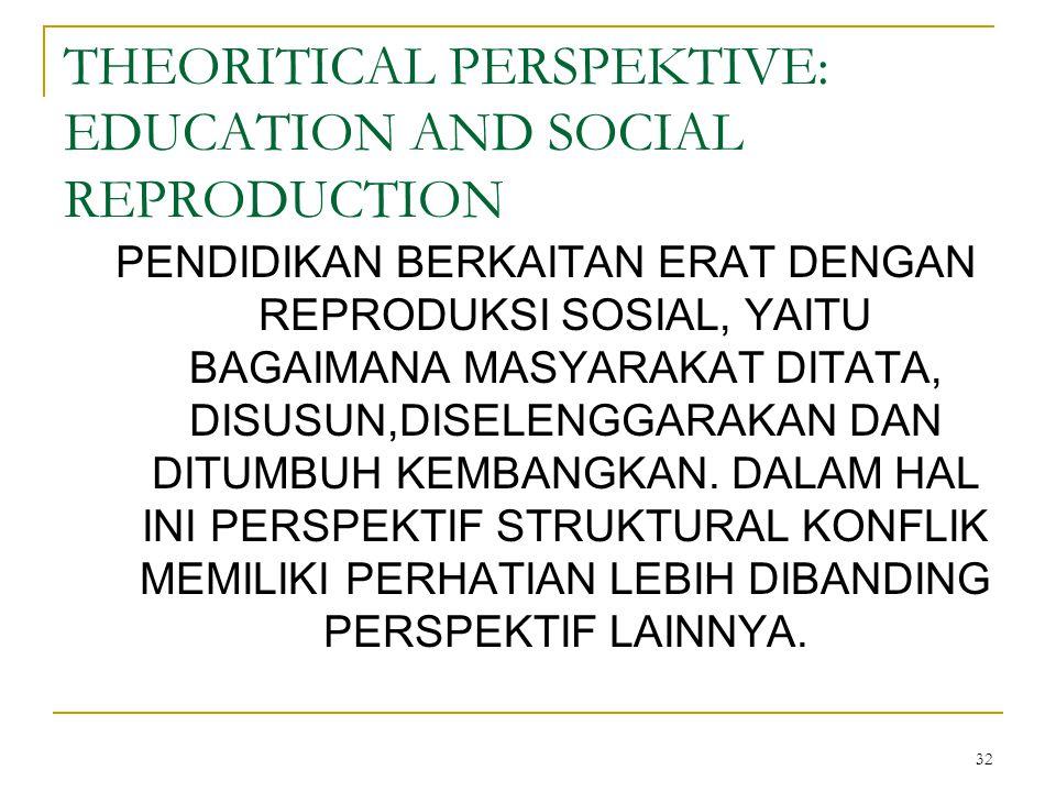 32 THEORITICAL PERSPEKTIVE: EDUCATION AND SOCIAL REPRODUCTION PENDIDIKAN BERKAITAN ERAT DENGAN REPRODUKSI SOSIAL, YAITU BAGAIMANA MASYARAKAT DITATA, DISUSUN,DISELENGGARAKAN DAN DITUMBUH KEMBANGKAN.
