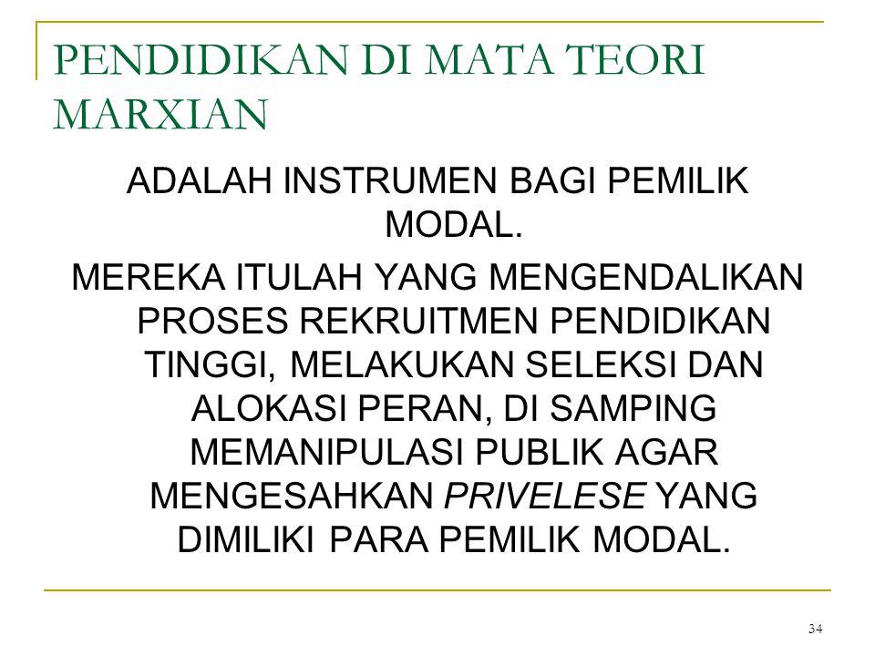 34 PENDIDIKAN DI MATA TEORI MARXIAN ADALAH INSTRUMEN BAGI PEMILIK MODAL.