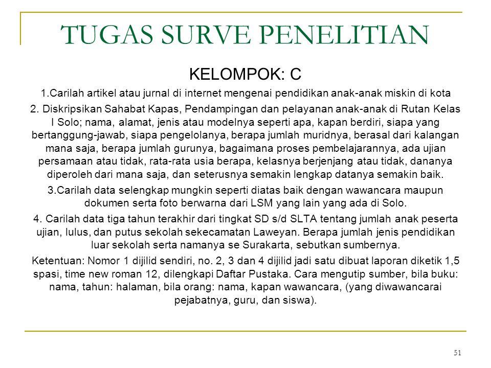 51 TUGAS SURVE PENELITIAN KELOMPOK: C 1.Carilah artikel atau jurnal di internet mengenai pendidikan anak-anak miskin di kota 2.