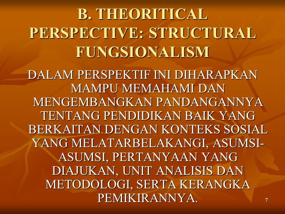 7 B. THEORITICAL PERSPECTIVE: STRUCTURAL FUNGSIONALISM DALAM PERSPEKTIF INI DIHARAPKAN MAMPU MEMAHAMI DAN MENGEMBANGKAN PANDANGANNYA TENTANG PENDIDIKA