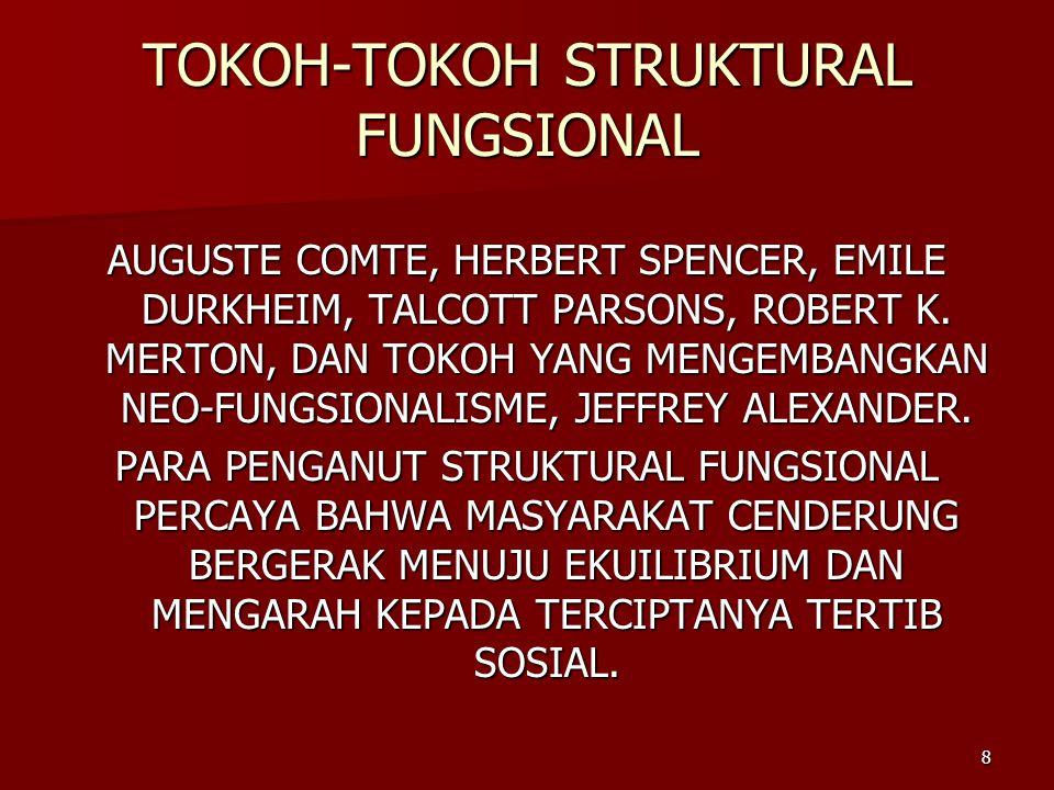 8 TOKOH-TOKOH STRUKTURAL FUNGSIONAL AUGUSTE COMTE, HERBERT SPENCER, EMILE DURKHEIM, TALCOTT PARSONS, ROBERT K.