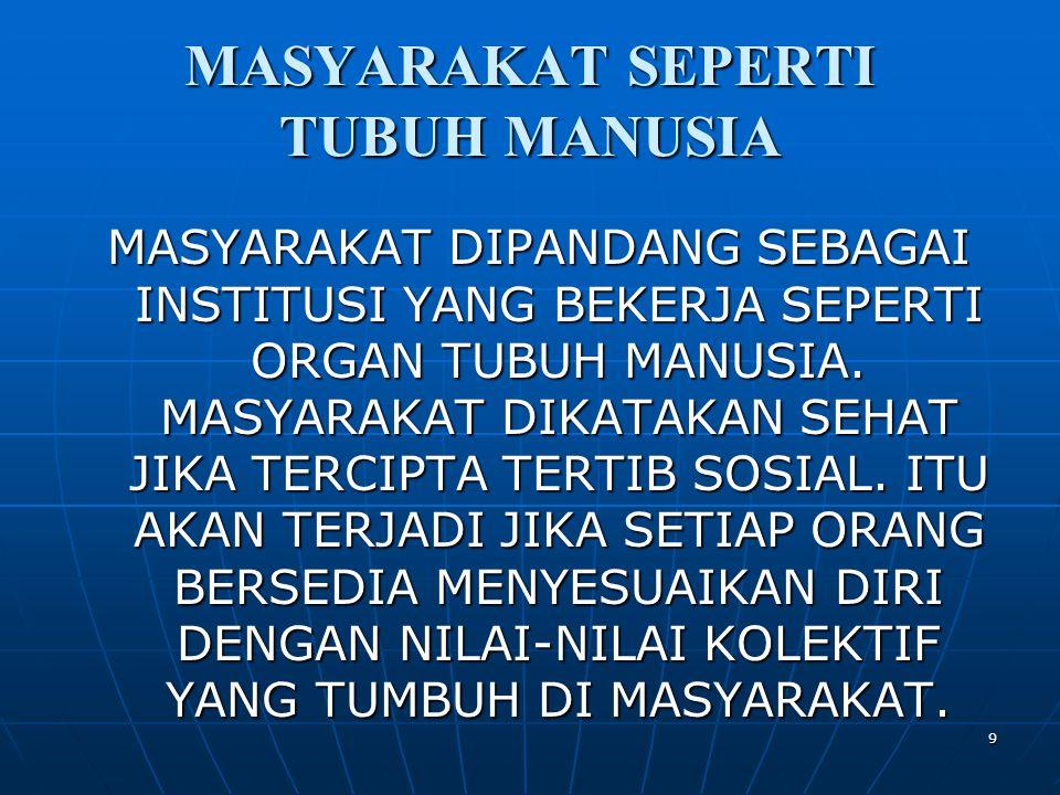 9 MASYARAKAT SEPERTI TUBUH MANUSIA MASYARAKAT DIPANDANG SEBAGAI INSTITUSI YANG BEKERJA SEPERTI ORGAN TUBUH MANUSIA.