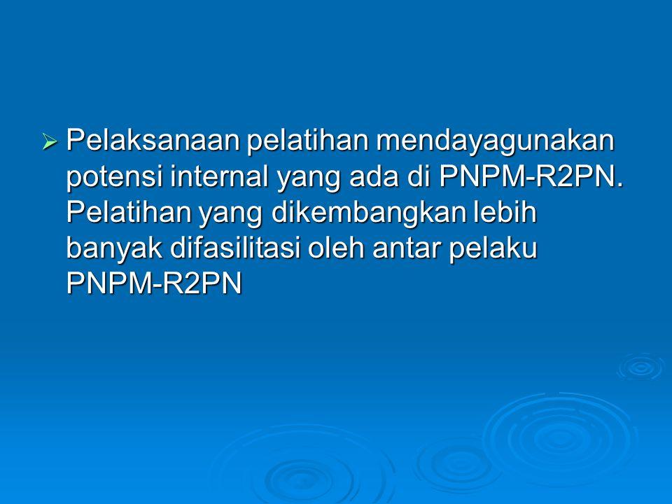  Pelaksanaan pelatihan mendayagunakan potensi internal yang ada di PNPM-R2PN. Pelatihan yang dikembangkan lebih banyak difasilitasi oleh antar pelaku