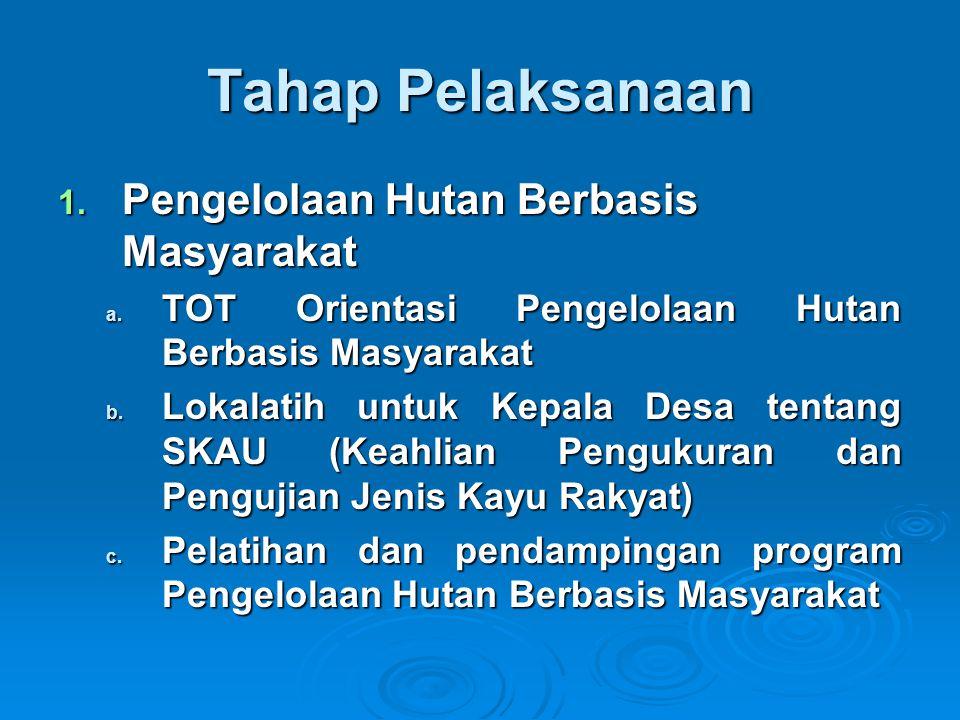 Tahap Pelaksanaan 1. Pengelolaan Hutan Berbasis Masyarakat a. TOT Orientasi Pengelolaan Hutan Berbasis Masyarakat b. Lokalatih untuk Kepala Desa tenta