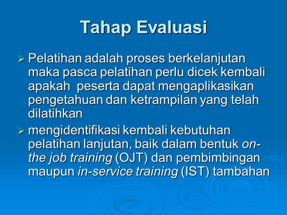 Tahap Evaluasi  Pelatihan adalah proses berkelanjutan maka pasca pelatihan perlu dicek kembali apakah peserta dapat mengaplikasikan pengetahuan dan k