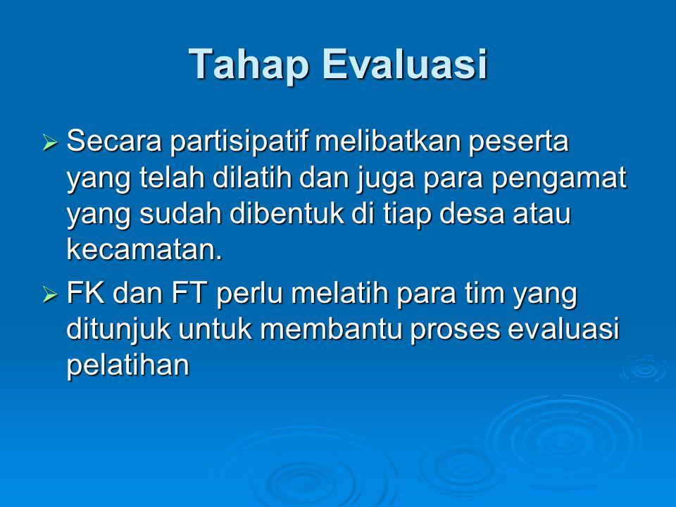Tahap Evaluasi  Secara partisipatif melibatkan peserta yang telah dilatih dan juga para pengamat yang sudah dibentuk di tiap desa atau kecamatan.