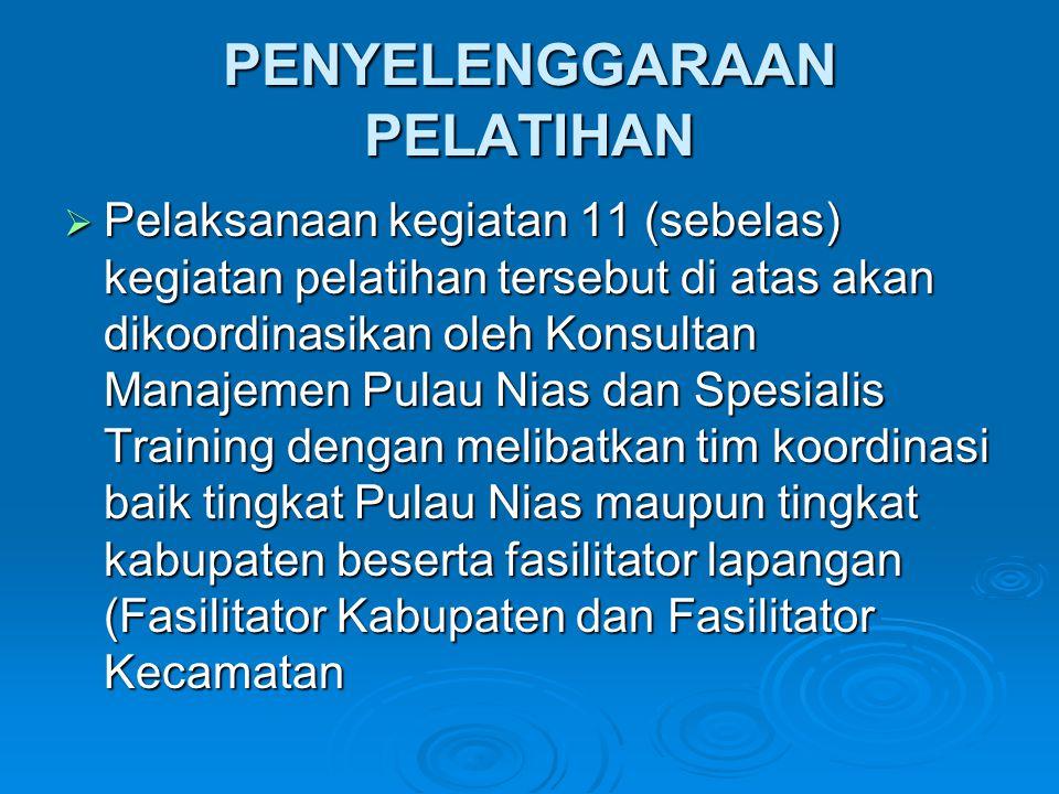 PENYELENGGARAAN PELATIHAN  Pelaksanaan kegiatan 11 (sebelas) kegiatan pelatihan tersebut di atas akan dikoordinasikan oleh Konsultan Manajemen Pulau