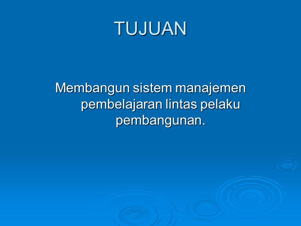 TUJUAN Membangun sistem manajemen pembelajaran lintas pelaku pembangunan.