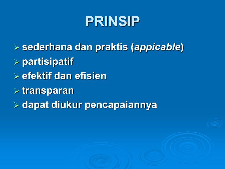 PRINSIP  sederhana dan praktis (appicable)  partisipatif  efektif dan efisien  transparan  dapat diukur pencapaiannya