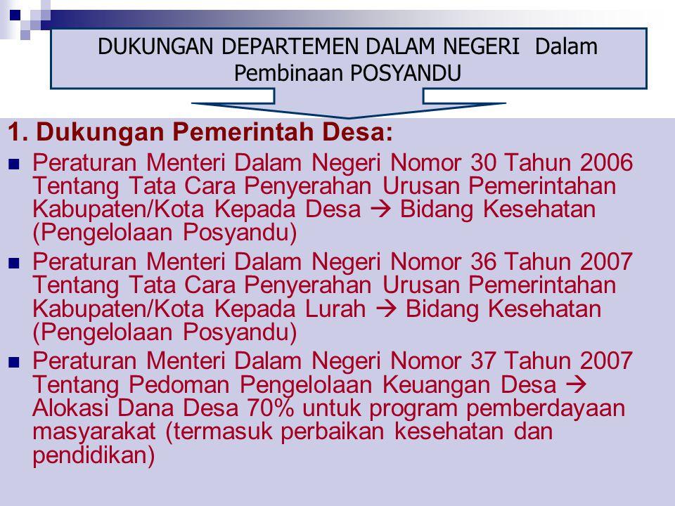 11 1. Dukungan Pemerintah Desa: Peraturan Menteri Dalam Negeri Nomor 30 Tahun 2006 Tentang Tata Cara Penyerahan Urusan Pemerintahan Kabupaten/Kota Kep