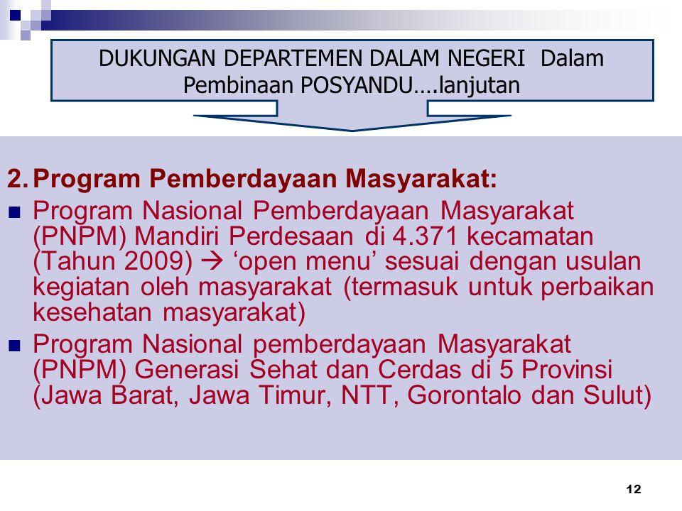 12 2.Program Pemberdayaan Masyarakat: Program Nasional Pemberdayaan Masyarakat (PNPM) Mandiri Perdesaan di 4.371 kecamatan (Tahun 2009)  'open menu'