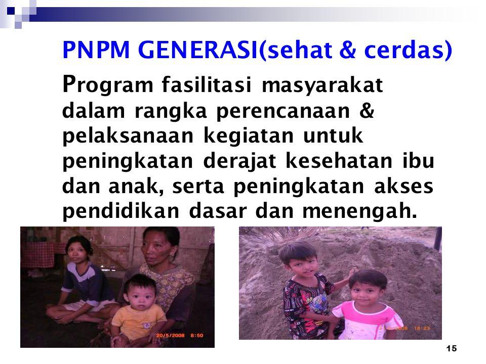 15 PNPM GENERASI(sehat & cerdas) P rogram fasilitasi masyarakat dalam rangka perencanaan & pelaksanaan kegiatan untuk peningkatan derajat kesehatan ib