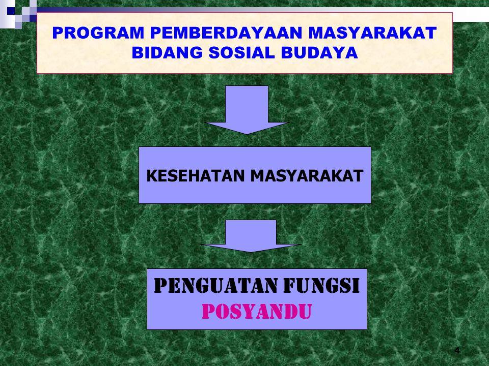 4 PROGRAM PEMBERDAYAAN MASYARAKAT BIDANG SOSIAL BUDAYA KESEHATAN MASYARAKAT penguatan fungsi POSYANDU