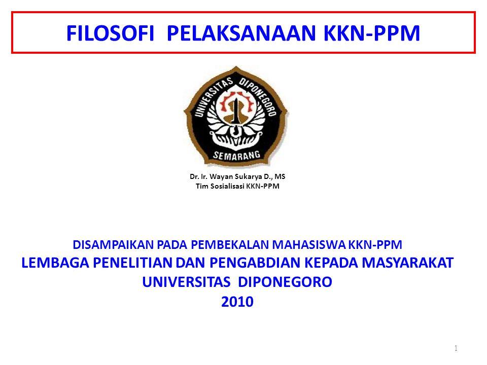 FILOSOFI PELAKSANAAN KKN-PPM Oleh Dr. Ir. Wayan Sukarya D., MS Tim Sosialisasi KKN-PPM DISAMPAIKAN PADA PEMBEKALAN MAHASISWA KKN-PPM LEMBAGA PENELITIA