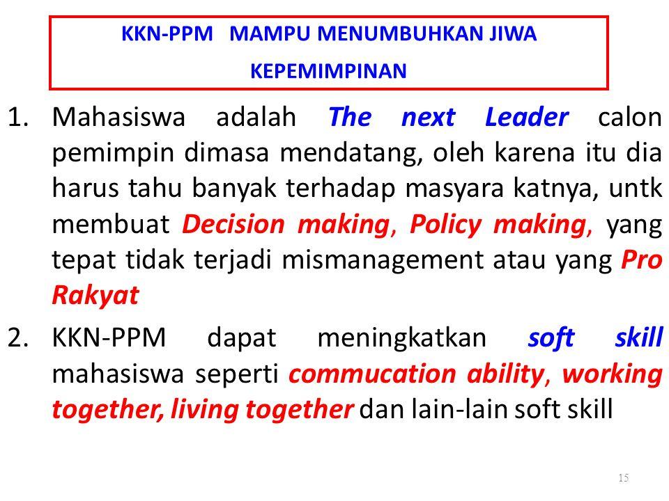 KKN-PPM MAMPU MENUMBUHKAN JIWA KEPEMIMPINAN 1.Mahasiswa adalah The next Leader calon pemimpin dimasa mendatang, oleh karena itu dia harus tahu banyak